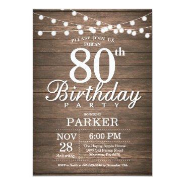 Rustic 80th Birthday Invitation String Lights Wood