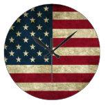 Rustic American Flag styled clock