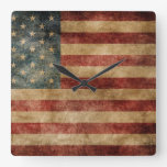 rustic americana,usa flag,grunge,vintage,tradition square wallclocks