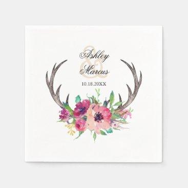 Rustic Antlers Boho Floral Allure Paper Napkin