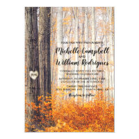 Rustic Autumn Fall Leaves Wedding Card