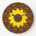 Rustic Autumn Sunflower Large Clock