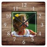 Rustic Barn Wood Custom Photo Square Wall Clock