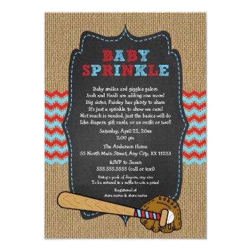 Rustic Baseball Baby Sprinkle / boy baby shower Invitation