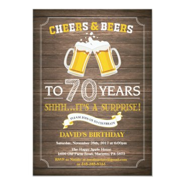 Rustic Beer Surprise 70th Birthday Invitation