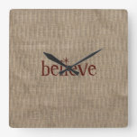 Rustic Believe Square Wall Clock