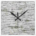 Rustic Birch Wood Square Wall Clock