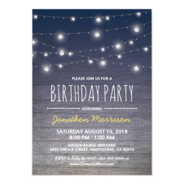 Rustic Blue Adult Mens Birthday Party Card