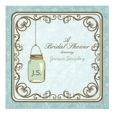 Rustic Blue and Brown Mason Jar Bridal Shower Invitation