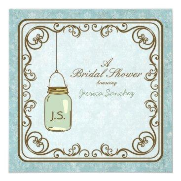 Rustic Blue and Brown Mason Jar Bridal Shower Invitation