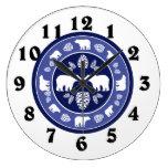 Rustic blue bear pinecone round clock