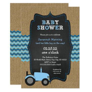 Rustic Blue Tractor boy Baby shower Invitation