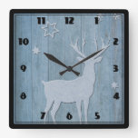 Rustic Blue Wood Reindeer Country Christmas Square Wall Clock