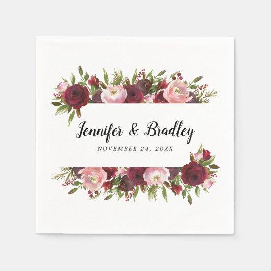 Rustic Blush Burgundy Flowers Wedding Napkins