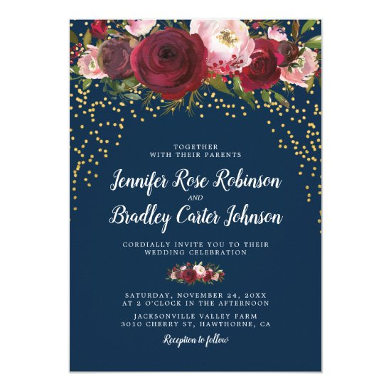 Rustic Blush Burgundy Navy Floral Wedding Invitation