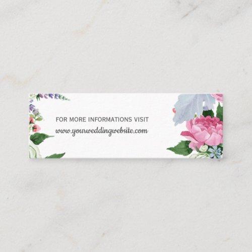 Rustic Boho pink lilac blue floral Wedding Website Mini Business Card