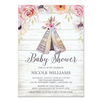 Rustic Boho Tribal Tee Baby Shower Card