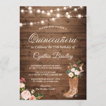 Rustic Boots Cowgirl Quinceañera 15th Birthday Invitation