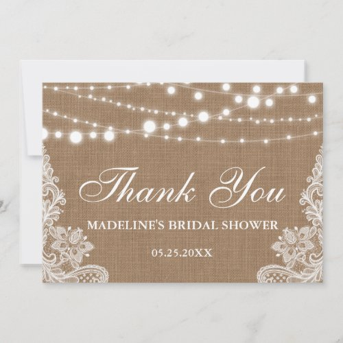 Rustic Bridal Shower Burlap Lights Lace Thank You