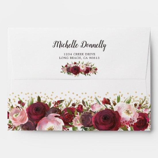 Rustic Burgundy Blush Floral Envelope