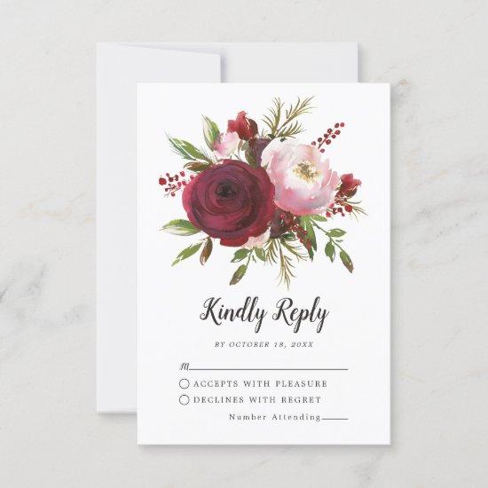 Rustic Burgundy Blush Floral Monogram Wedding RSVP