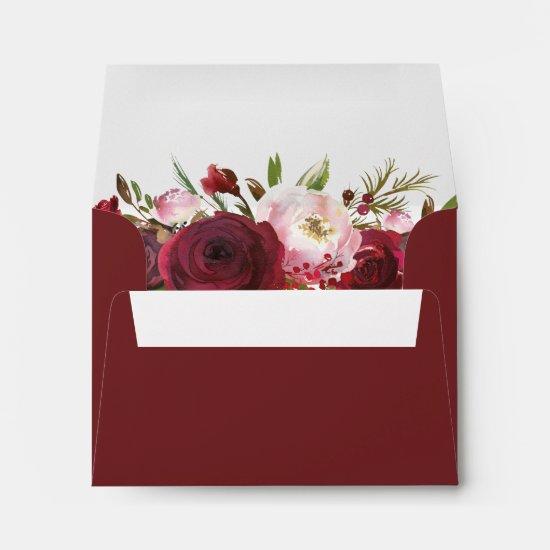 Rustic Burgundy Blush Floral RSVP Address Envelope