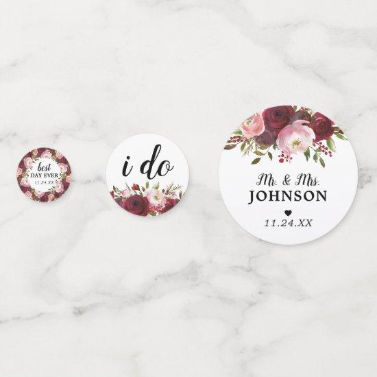 Rustic Burgundy Blush Floral Wedding Confetti