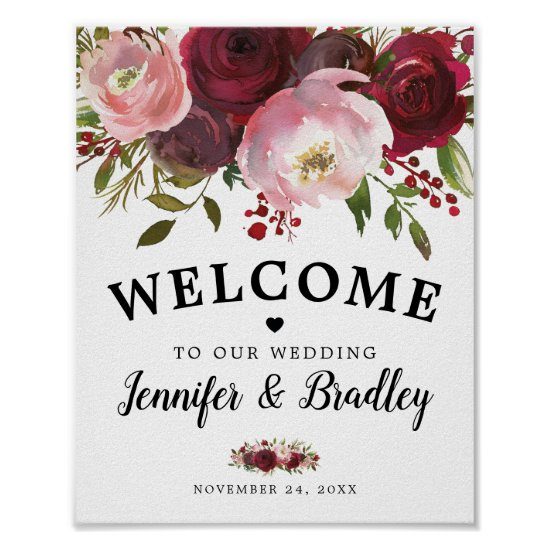 Rustic Burgundy Blush Floral Welcome Wedding Poster
