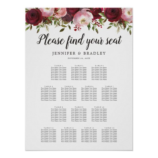 Rustic Burgundy Floral Wedding 14 Table Chart