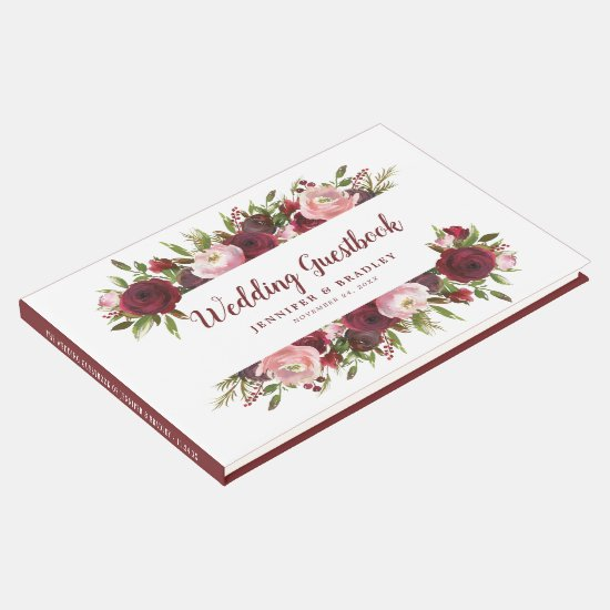 Rustic Burgundy White Floral Watercolor Wedding Guest Book