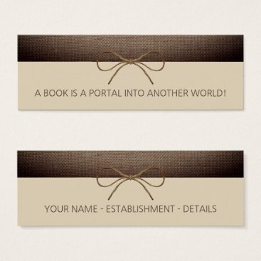 Rustic Burlap and Twine Bow Bookmark