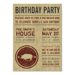 Rustic Burlap BBQ Birthday Party Invitations