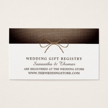 Rustic Burlap Bow, Gift Registry Business Card