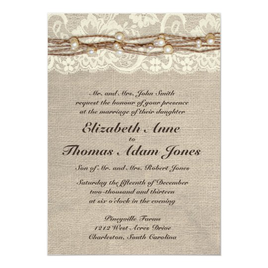 Wedding Invitation Diy Lace And Real Burlap Country Invitations With Design