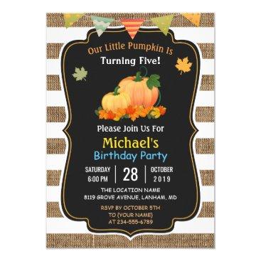 Rustic Burlap Pumpkin Fall Kid's Birthday Party Invitation