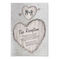 Rustic Carved Heart Birch Tree Wedding Reception Card