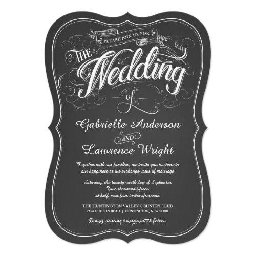 Rustic Chalkboard Script Art Wedding Invitations