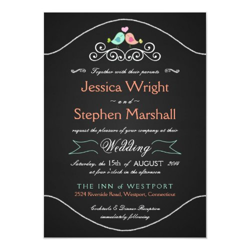 Rustic Chalkboard Wedding LoveBirds Invitation