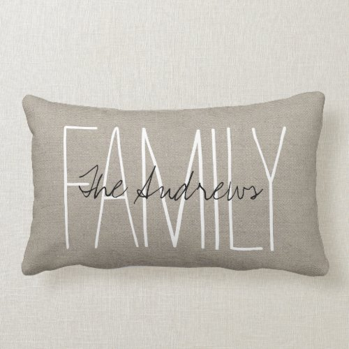 Rustic Chic Family Monogram Throw Pillow