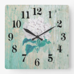 rustic chic turquoise square wall clock
