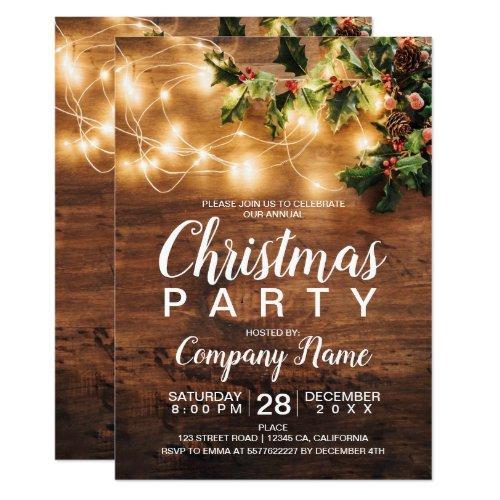 Rustic Christmas country corporate mistletoe light Invitation