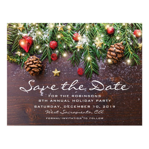 Rustic Christmas Holiday Party Save The Date Postcard