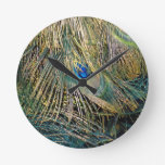 Rustic Color Peafowl Feathers Round Wall Clock