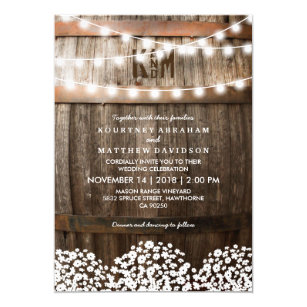 Rustic Country Baby S Breath String Lights Wedding Invitation