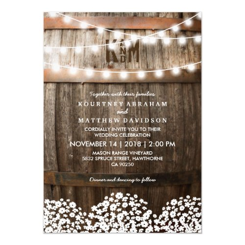 Rustic Country Baby&#39&#x3B;s Breath String Lights Wedding Invitation