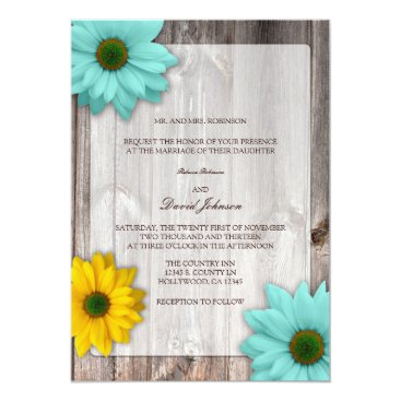 Rustic Country Barn with Colorful Daisies Wedding Invitation