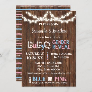 Rustic country chic gender reveal pink and blue invitation