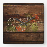 Rustic Country Christmas Square Wall Clocks