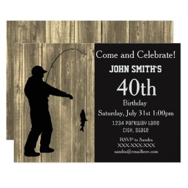Rustic Country Fishing Birthday Invitations