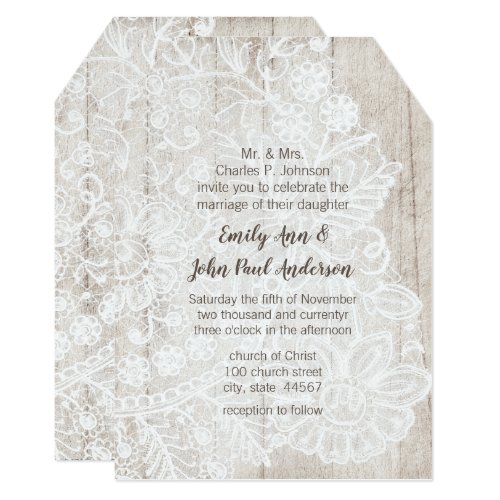 Rustic Country Lace Farmhouse Barn Wood Wedding Invitation